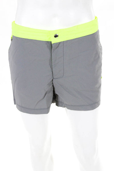 Les Canebiers Mens Swim Trunks Neon Trim Gray Size 2XL