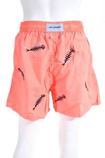 Les Canebiers Mens Swim Trunks Fish Embroidered Insert Neon Orange Size 2XL