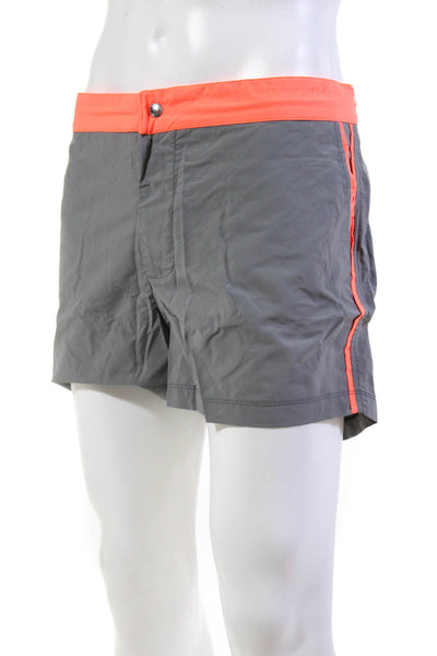 Les Canebiers Mens Swim Trunks Orange Neon Trim Gray Size 3XL