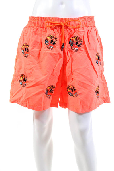 Les Canebiers Mens Swim Trunks Embroidered Skull Pattern Neon Orange Size 3XL