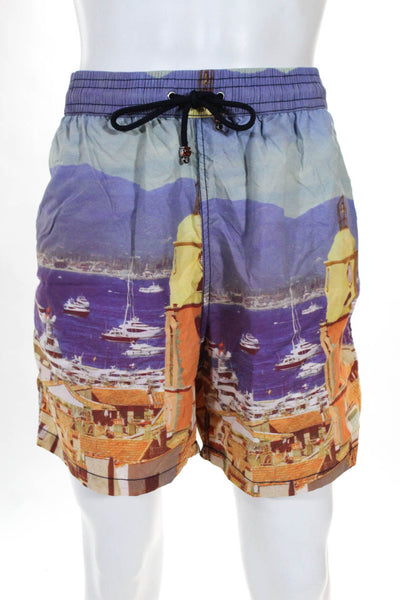 Les Canebiers Mens Swim Trunks Village Print Multi Color Size 4XL