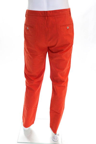 Les Canebiers Mens Straight Casual Khaki Pants Trousers Orange Cotton Size 2XL