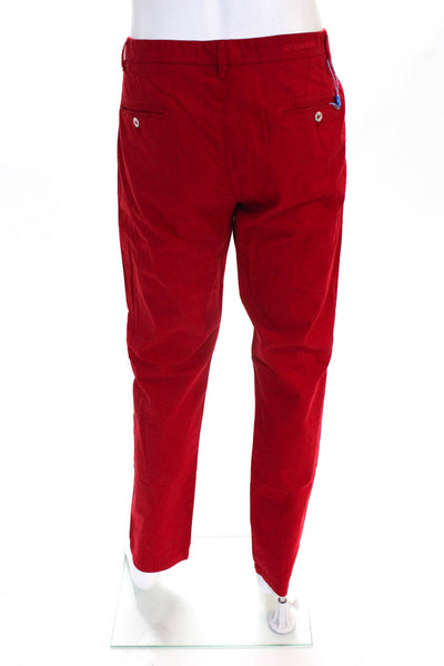 Les Canebiers Mens Straight Leg Khaki Casual Pants Trousers Red Cotton Size 2XL