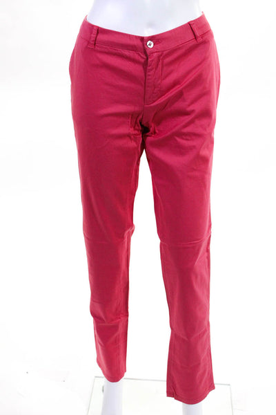 Les Canebiers Womens Pants Chino Slim Cut Cotton Red Raspberry Size X-Large