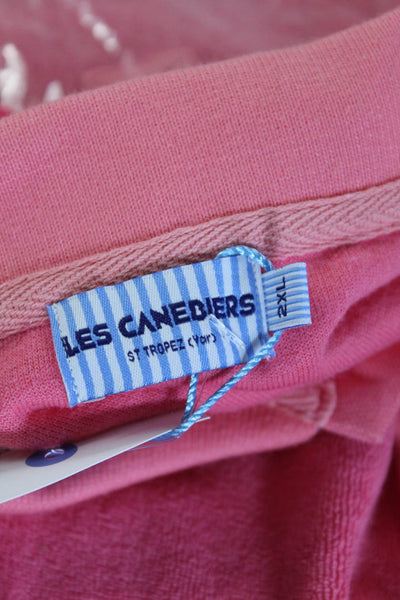 Les Canebiers Mens Shirts Towel Polo Cotton Raspberry Pink Size 2XL