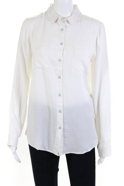 Les Canebiers Women's Button Down Long Sleeve Top Beige Size Extra Large