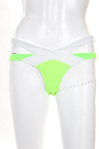 Les Canebiers Womens Palmier Bikini Swimsuit Bottoms Green White Size Large