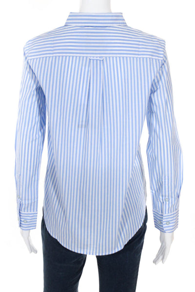 Les Canebiers Women's Striped Long Sleeve Top Cotton Blue White Size Large
