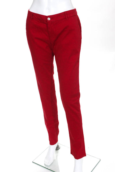 Les Canebiers Womens Slim Cotton Chino Pants Red Size Medium