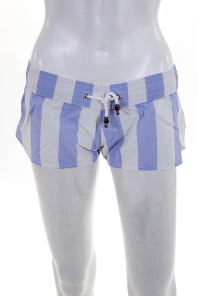 Les Canebiers Women's Drawstring Board Shorts White Blue Size Extra Small