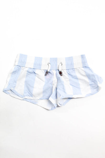 Les Canebiers Girls Swim Wear Board Shorts Wide Striped White Light Blue Size 6