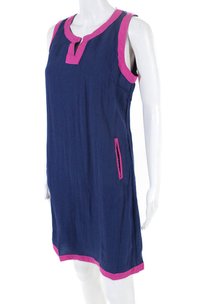 Les Canebiers Womens Sundress Knee Length V Neck Pink Contrast Trim Blue Size 38