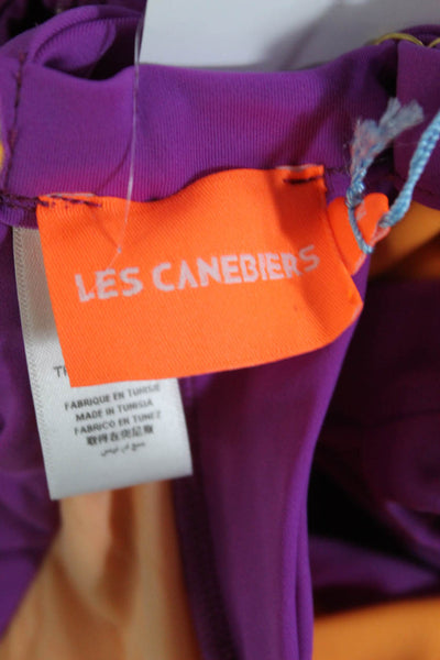 Les Canebiers Womens One Piece Swimsuit V Neck Cut Out Orange Purple Size XL