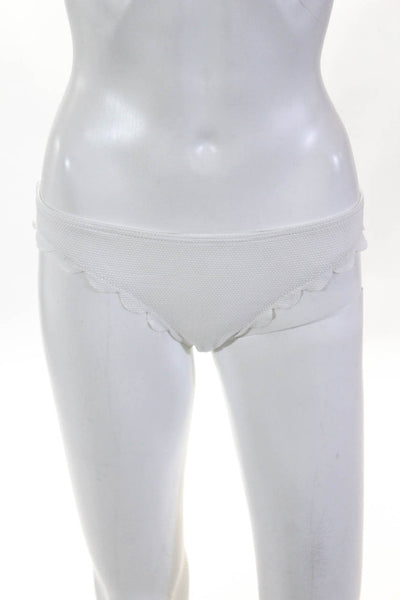 Les Canebiers Womens Arbousier Scalloped Edge Bikini Bottoms White Size IT 40
