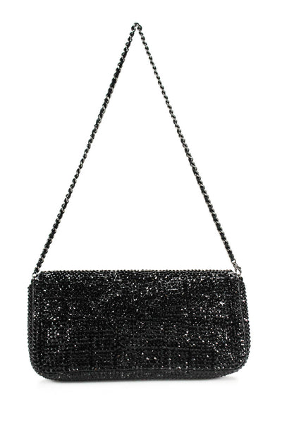 Chanel Womens CC Turnlock Crystal Chocolate Bar Strass Flap Handbag Black