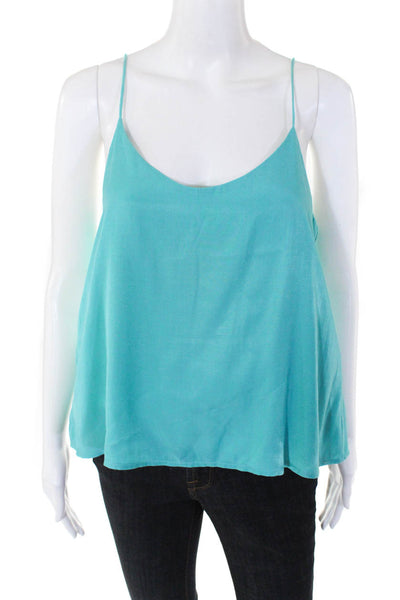State of Being Womens Double Layer Cami V-Neck Spaghetti Strap Tank Blue Size S