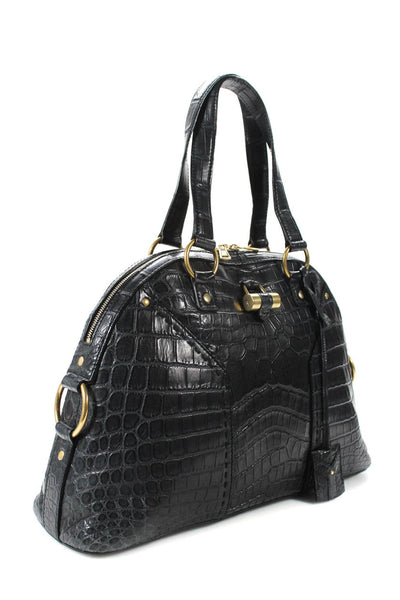 Yves Saint Laurent Womens Crocodile Muse Bag Shoulder Tote Handbag Black Leather