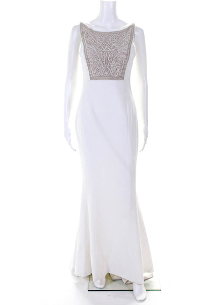 Ella Zahlan Womens Silk Beaded Spaghetti Strap Evening Gown Ivory Size 8