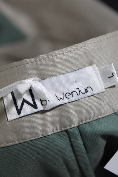 W By WenJun Womens High Rise Beige Blue Color Blocked Shorts Size Large