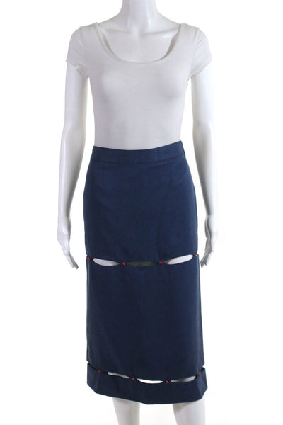 W By WenJun Womens Cutout Star Rivet Pencil Skirt Blue Red Size Extra Small