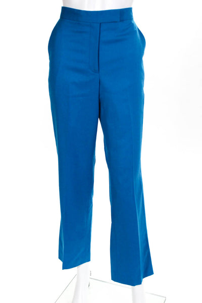 Muveil Womens High Rise Pleated Front Straight Leg Teal Pants Size European 38