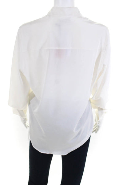 Pallas Womens Dynastie Collared Blouse Top White Silk Size European 40