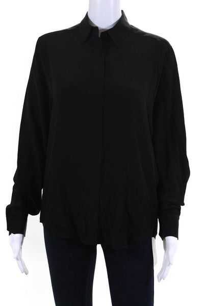 Pallas Womens Dynastie Collared Blouse Top Black Silk Size European 38
