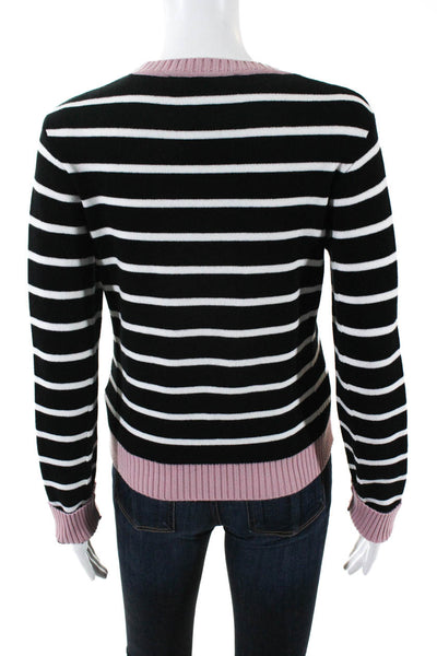 Etre Cecile Womens Striped Pink Trim Logo Graphic Sweater Black White Size Small