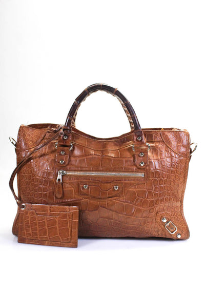 Balenciaga Womens Motocross Classic City Crocodile Tote Handbag Brown
