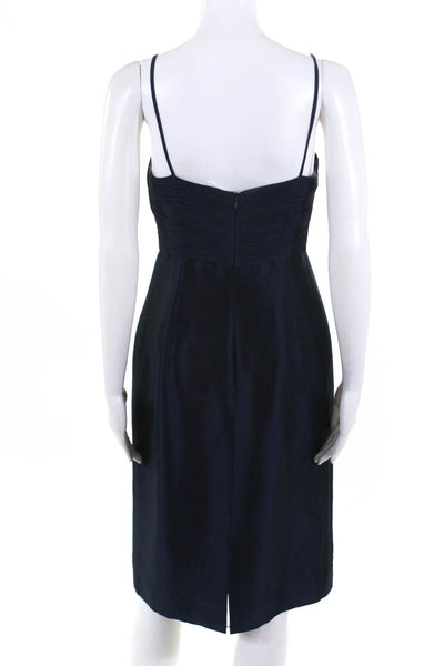 Vacca Womens Straight Across Spaghetti Strap Shift Dress Navy Silk Size 8