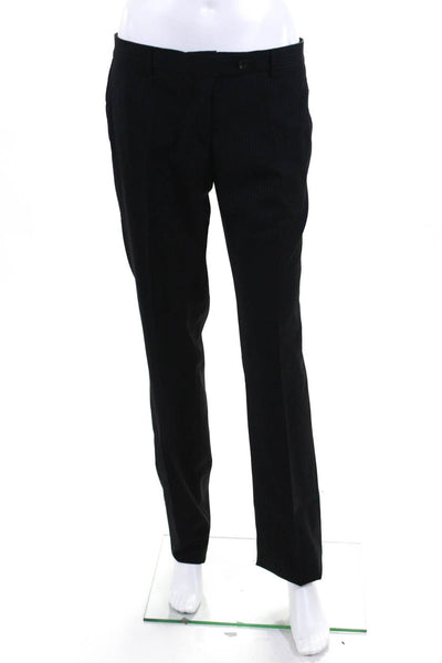 Domenico Vacca Womens High Rise Straight Dress Pants Black Stripe Size Italian 4
