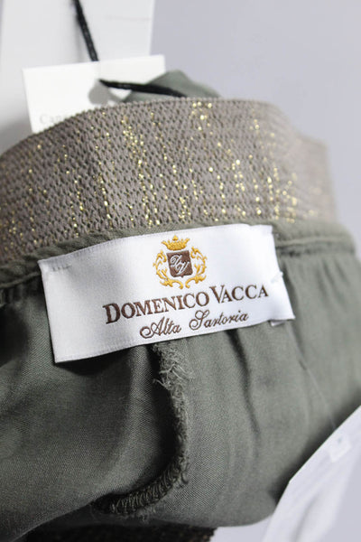 Domenico Vacca Womens High Rise Skinny Trousers Green Gold Size 6