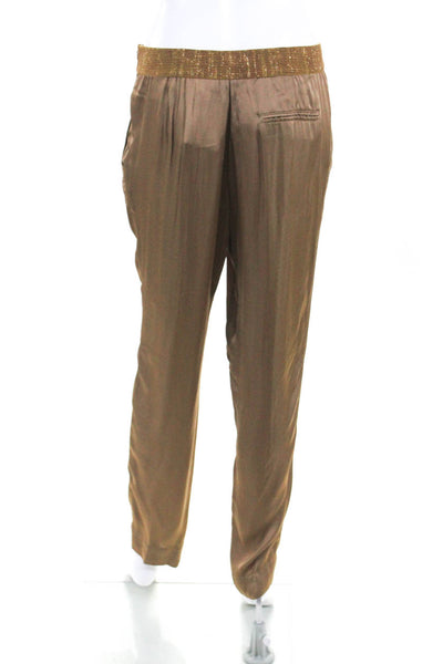 Domenico Vacca Womens High Rise Skinny Trousers Brown Gold Size 6