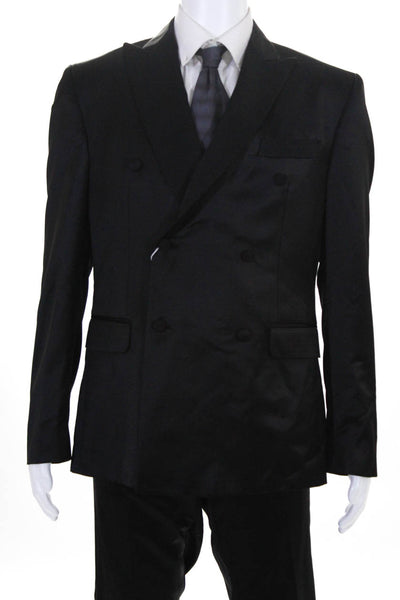 Domenico Vacca Mens Slim Leg Tuxedo Suit Black Wool Size 44 Regular/38