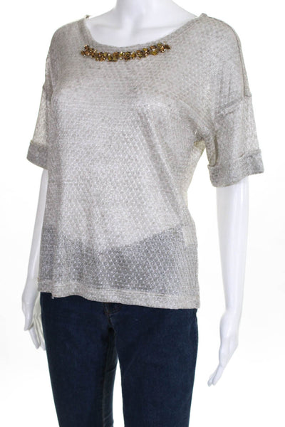 Domenico Vacca Womens Short Sleeve Blouse Top Gray Rhinestone Size 2