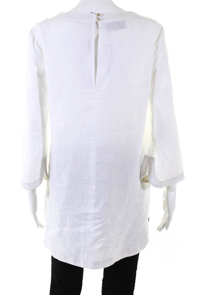 Domenico Vacca Womens Beaded V-Neck Long Sleeve Tunic Top White Linen Size 6