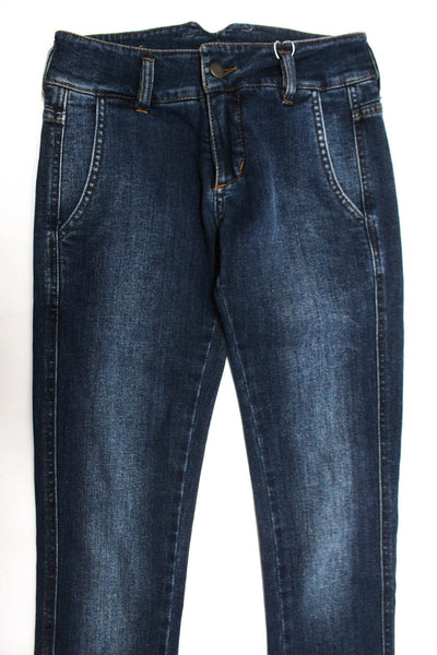 Domenico Vacca Womens Zipper Fly Dark Wash Skinny Jeans Blue Cotton Size IT 36