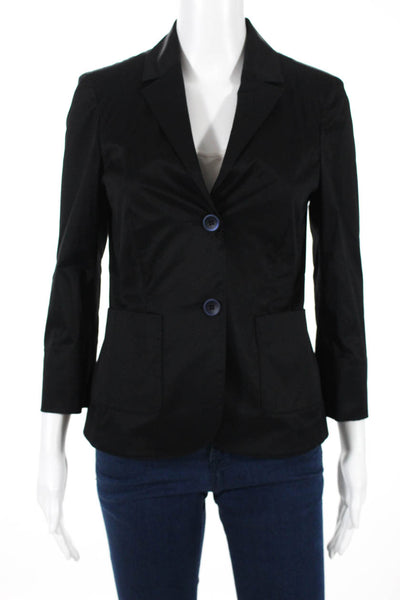 Domenico Vacca  Womens Two Button Giacca Audrey  Blazer Black Cotton Size 4