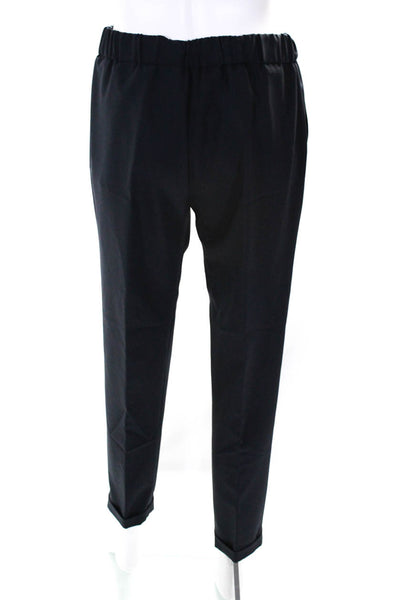 Domenico Vacca Womens Slim Leg Cuffed Martin Dress Pants Navy Blue Wool Size 6