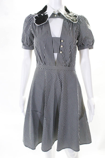 No21 Womens Gingham A-Line Sequin Collar Dress White Black Size 40 European