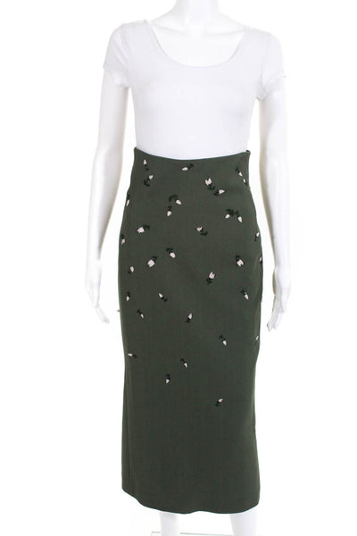 Noon by Noor Womens Midi Pencil Skirt Hunter Green Floral Size 2