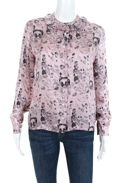 Shrimps Womens Silk Long Sleeve Doodle Blouse Top Pink Size 6