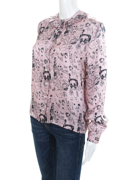 Shrimps Womens Silk Long Sleeve Doodle Blouse Top Pink Size 10