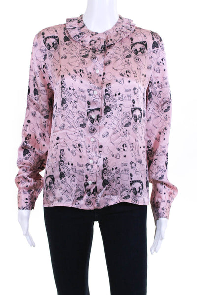Shrimps Womens Silk Long Sleeve Doodle Blouse Top Pink Size UK 10