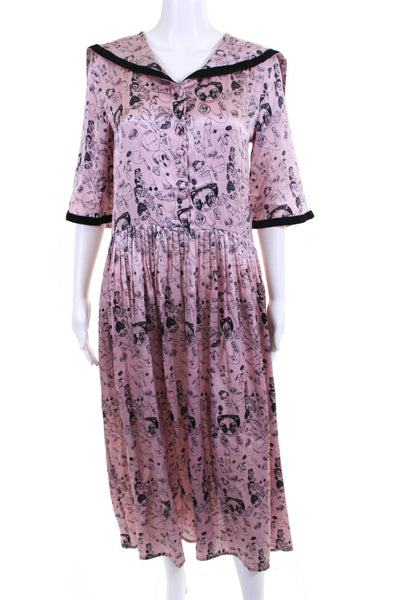 Shrimps Womens Silk Doodle Print Maxi Dress Pink Black Size UK 8