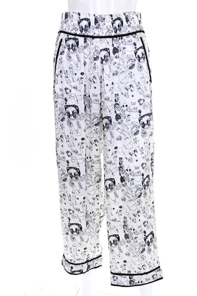 Shrimps Womens Elastic Waist Doodle Print Silk Trouser Pants White Size UK 8