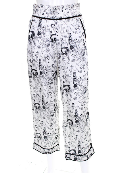 Shrimps Womens Elastic Waist Doodle Print Silk Trouser Pants White Size UK 6