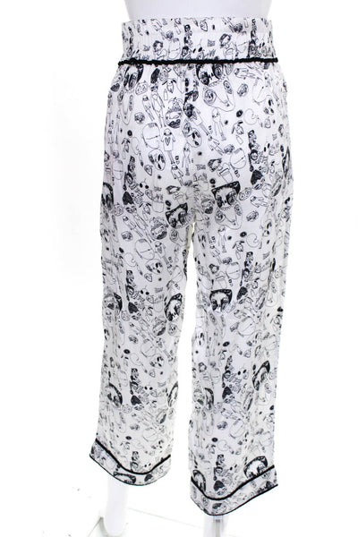 Shrimps Womens Elastic Waist Doodle Print Silk Trouser Pants White Size UK 12