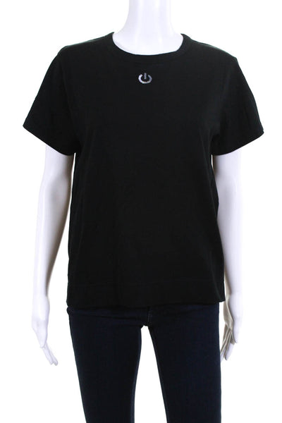 Tu Es Mon Tresor Womens Sequin Power Button T-Shirt Top Black Cotton Size EUR 40