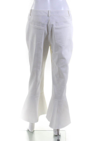 Eudon Choi Womens Button Ankle Flare Cropped Trouser Pants White Cotton Size 6